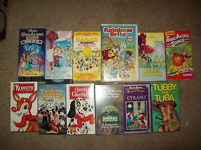 Lot set of 12 Children's VHS Video Tapes-used