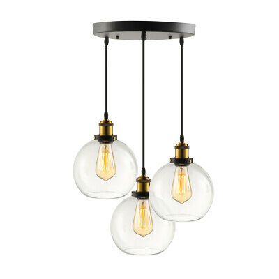 Vintage Industrial 3 Light Pendant Lamp Chandelier Ceiling Fixture Glass Shade