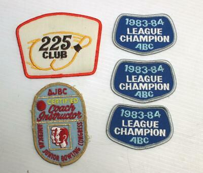 5 Vintage Bowling Patches League Champ 225 Club AJBC Certified Instructor ABC