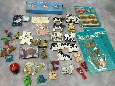 Lot of Refrigerator Magnets Cows Ducks Bears Butterflies Parrots Unused VTG 39