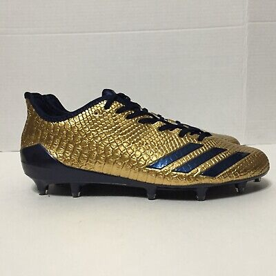 best cheap c046e 419bb Adidas Adizero 5-Star 6.0 Football Cleats Gold Navy Snakeskin BW0781 Size  9-9.5