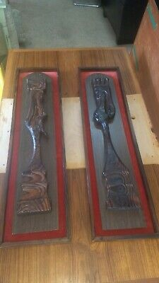 Large WITCO Mid Century Tiki king and queen pair of wall hangings art