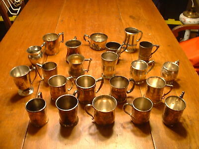 Estate Lot of 22 Antique Victorian Silver Plate Mugs