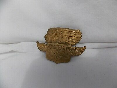 VTG Transcontinental & Western Air TWA Brass Indian Chief Belt Buckle Great Cond