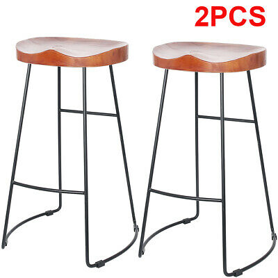 2Pcs Vintage Metal Wooden Bar Stools Rustic Wood Seat Kitchen Pub Counter Chairs