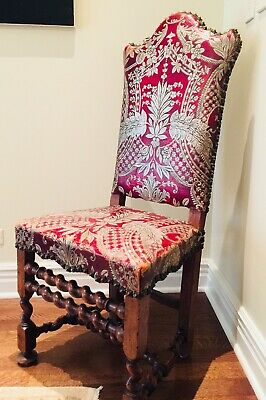 Antique tooled leather chair scroll wormwood Renaissance Revival Spanish French