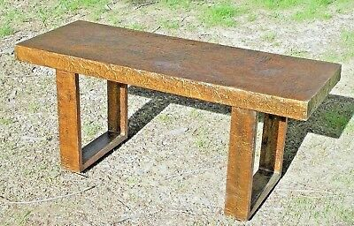 Unique Mid Century Modern Artisan Crafted Copper Clad Coffee Table