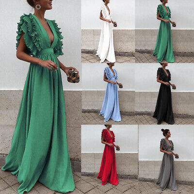 Sleeveless Maxi dress Solid Color V Neck Ruffle Patchwork Chiffon dress 6 Color