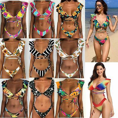 2019 New Women Floral Triangle Bikini Padded Push up Swimwear Swimsuit Beachwear