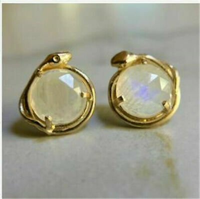Women 18K Gold Plated Round Cut Moonstone Ear Studs Retro Party Gift Earrings