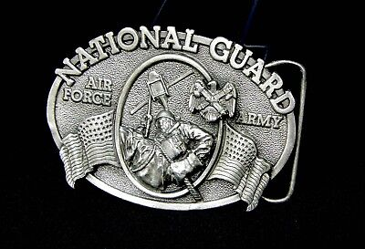 NATIONAL GUARD AIR FORCE & ARMY Belt Buckle 1982 White Brass 3D.Vintage