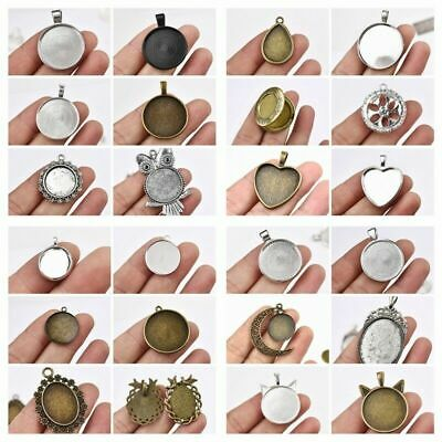 Fashion 10/20Pcs Cameo Cabochon Base Setting Charms Pendant Necklace Findings