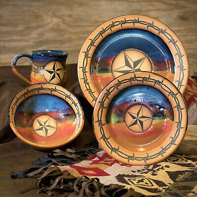"Dinnerware Sets - ""Western Star"" 4-Piece Place Setting - Western Decor"