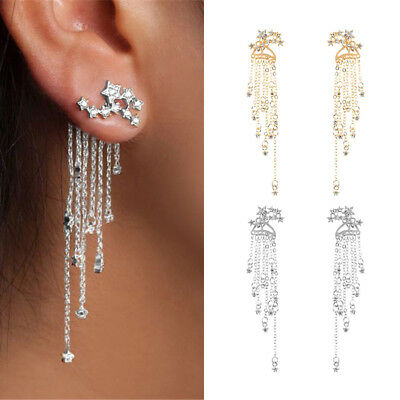 Women Crystal Rhinestone Star Long Tassel Drop Dangle Stud Earrings Jewelry