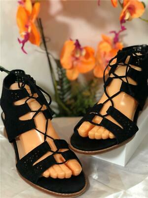 c9397d918bf09 Vince Camuto Tany Lace Up Gladiator Black Suede Sandals Sz US 10M / EU 40