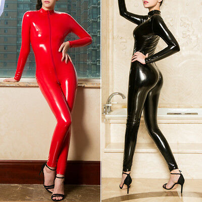 Women Latex Catsuit Erotic Rubber Tight Bodysuit Female Front Zipper Lingerie