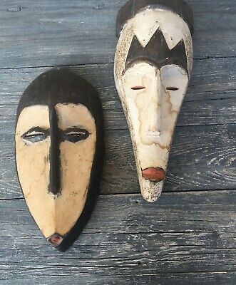2 African Guro Original Wood Handcrafted Ethnic Tribal Masks Cote D' Ivoire