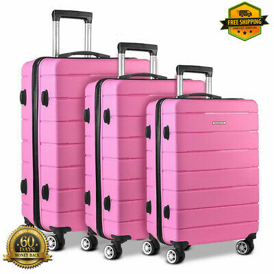 Set Of 3 Travel Luggage Pink Carry On Wheels Suitcase Solid Hard Shell Trolley