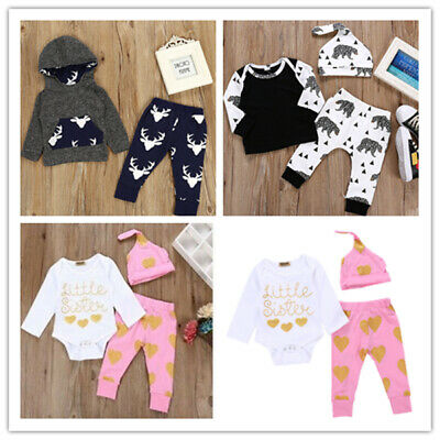 Newborn Infant Rompers Tops Jumpsuit Baby Boy Girl Cotton Outfit 3pcs Pack 0-24M