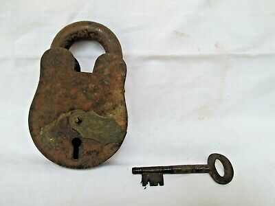 antique vintage old decorative Collectable wrought iron padlock & key working.-