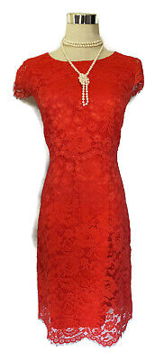 REVIEW Dress- 1950s Vintage Retro Red Floral Scalloped Lace Cap Sleeve Sheath 12