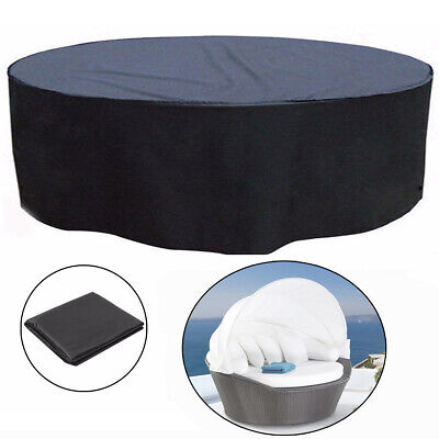Round Outdoor Garden Patio Rattan Day Bed Furniture Waterproof Cover Protection