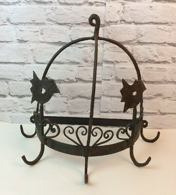 Early 20th Century Hand Crafted Cast Iron Demi-Lune Hanging Game Hooks.