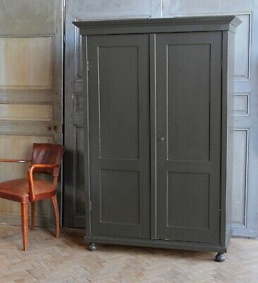 Vintage Antique Painted Larder Linen Press Cupboard Armoire Cabinet