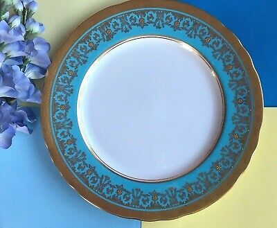 """Rare Art Deco Aynsley China """"Kenilworth"""" Turquoise Scalloped Dinner Plate - 7023"""
