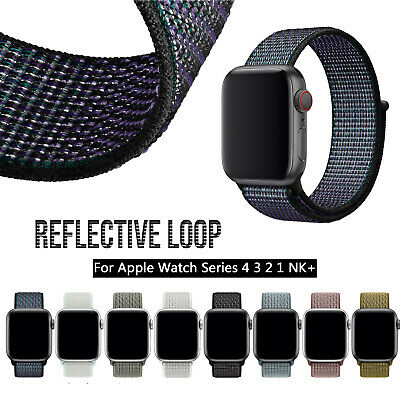 Reflective Sport Loop Nylon iWatch Band Strap for Apple Watch Series 4 3 2 1 NK+