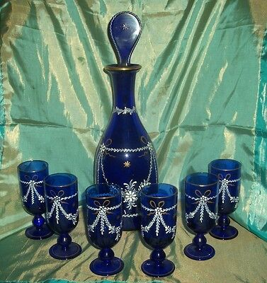 French Enamelled glass Decanter with 6 Glasses - lovely condition