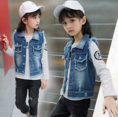 Kids Boys Girls Ripped Denim jeans vest Biker Jacket Gilet Sleeveless Coat Age