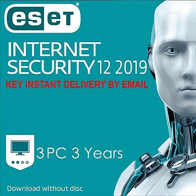 ESET NOD32 Internet Security 2019 3 PC ,3 Anno, GLOBAL, ESD - Consegna immediata