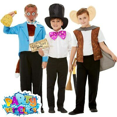 Kids Roald Dahl Costume Kits The BFG Mr Fox Willy Wonka Boys Fancy Dress Outfit