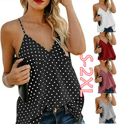 Women Polka Dot V Neck Summer Tanks Tops Vest Casual Blouse Cami Camisole Shirt