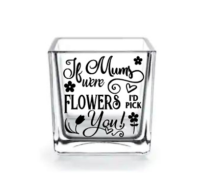 "1x 3"" Mums Were Flowers Vinyl Decals Frame Vases Craft Candles Note Books Mirror"