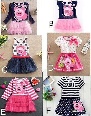 Brand new Girls Princess Peppa dress Pure Cotton pig character age 1 to 6 years