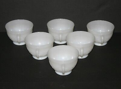 6 Vintage French Opaline Milk Glass Coffee Espresso Cups, Flowers Vines Leaves