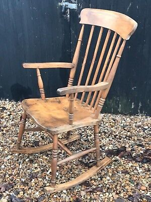 Beautiful antique solid study comfortable oak rocking chair - gorgeous patina