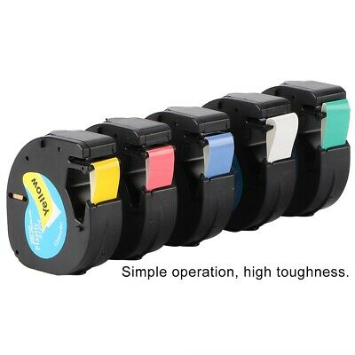 5PK Compatible for Dymo LT 91331 Refill Plastic LetraTag Label Tape 12mm*4m