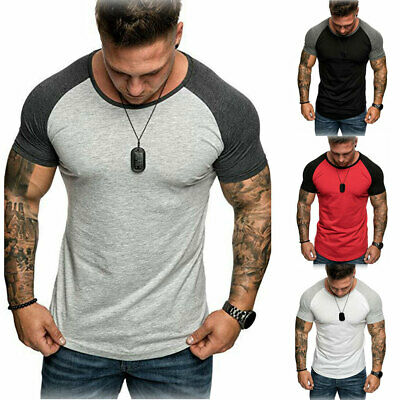 f1e45094a Men's Casual Gym Summer Slim Fit Short Sleeve Muscle Tee Tops T-shirt Blouse