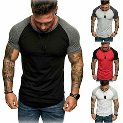 Men's Casual Gym Slim Fit Casual Short Sleeve Muscle Tee Tops T-shirt Blouse