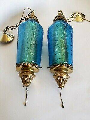 Mid Century Mod Crinkled Blue Glass Pair of Pendants Ceiling Vintage Lights WOW!