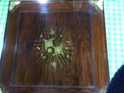 Mahogany / Brass Inlaid Games Table + Drawers / Small Table Chess & Backgammon