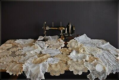 41 Vintage Lot Doilies White Cream Ecru Crochet Lace mats