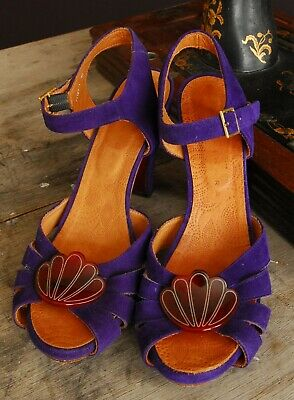 VINTAGE STYLE SHOES 1940'S LOOK Chie Mihara sandals, Violet, 40,