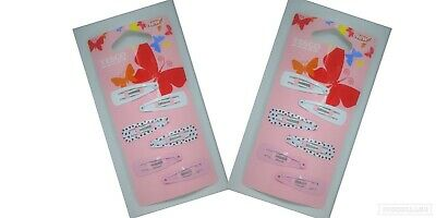 2 x Tesco Girls Snap Hair Clip Selection,6 Pack,Pink,White,Hearts,Summer,F/P&P
