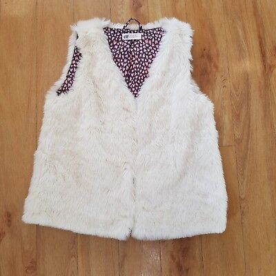 H&M Faux Fur Gilet Girls 11 - 12 Years Off White Autumn Winter