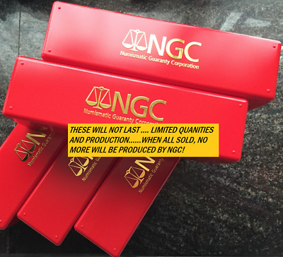 ONE NEW RED & GOLD NGC LOGO coin storage box - box holds 20 NGC STANDARD Slabs