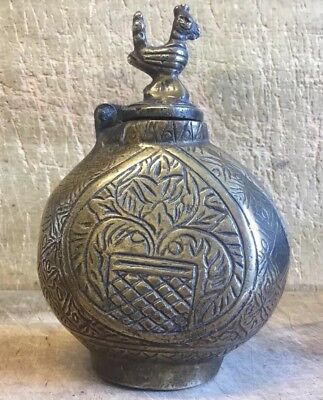 Very Unusual Early Antique Heavy Chinese Cast Brass Flask Travel Container